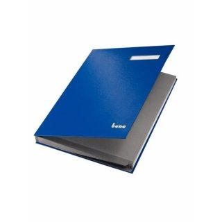 Unterschriftsbuch, 19 Fächer, blau, dehnbarer Rücken,