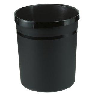 Papierkorb GRIP mit Rand, 18 l, schwarz, 2 Griffmulden, extra stabil
