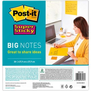 Super Sticky Big Notes, ultragelb, 279x279mm, PEFC zertifiziert
