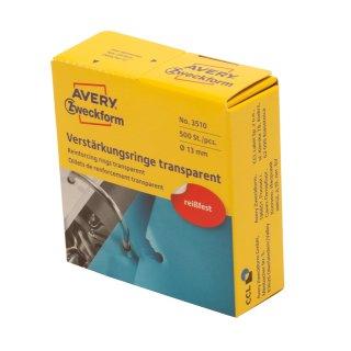 Avery Zweckform Lochverstärkungsring transparent, Spender, selbstklebend, 13 mm,