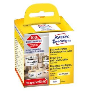 Avery Zweckform Rollenetikett strapazierfähig 25x54mm weiß, 160 Stück pro Rolle