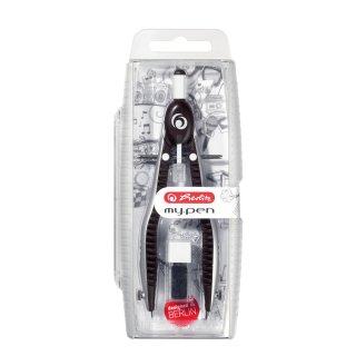 Herlitz my pen, Schnellverstellzirkel bis 170mm Ø Zeichenkreis, 16,3cm Länge, mit Minendose,schwarz-grau