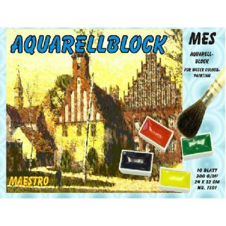 Aquarellblock Künstlerblock 42x56 cm, 300g/m², 10 Blatt