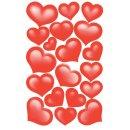 Creative Papier-Sticker, Herzen rot, beglimmert VE=2 Blatt