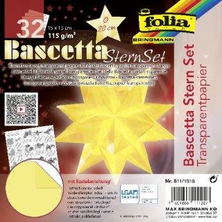Bascetta-Stern Bastelset, Faltblätter 15x15cm, 811/1515, hellgelb, Ø ca.20cm