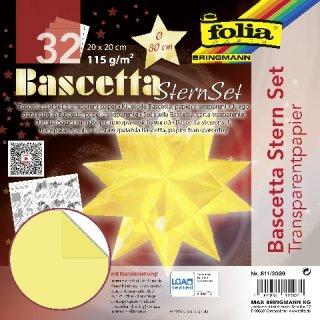 Bascetta-Stern Bastelset, Faltblätter 20x20cm, 811/2020, hellgelb, Ø ca.30cm