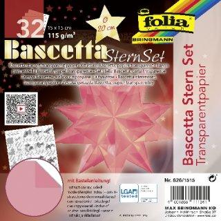 Bascetta-Stern Bastelset, Faltblätter 15x15cm, 826/1515, rosa, Ø ca.20cm