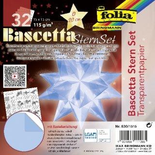 Bascetta-Stern Bastelset, Faltblätter 15x15cm, 830/1515, hellblau, Ø ca.20cm