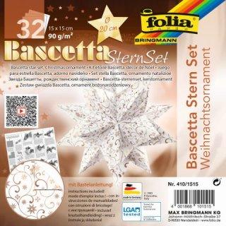 Bascetta-Stern Set, 15x15cm, 32Blatt, Designpapier, weiß/kupfer Weihnachtsornamente