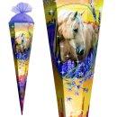Schultüte Effektschultüte Pferdeträume 85cm mit Glitter, eckig, Tüllverschluss
