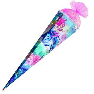 Schultüte Effektschultüte Aquarina 85cm mit Glitter, eckig, Tüllverschluss