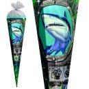 Schultüte Effektschultüte Hai mit Foliedruck 85cm mit Glitter, eckig, Tüllverschluss