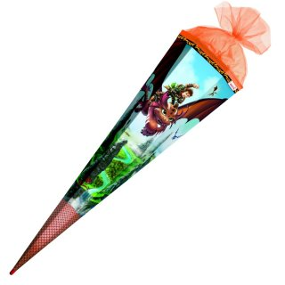 Schultüte Effektschultüte Drachenjäger mit Folie 85cm mit Glitter, eckig, Tüllverschluss