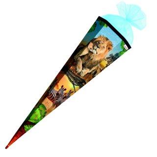Schultüte Effektschultüte Löwe 85cm mit Glitter, eckig, Tüllverschluss