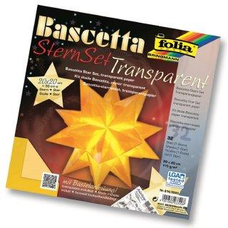 Bascetta-Stern Bastelset, 32 Faltblätter 20x20cm, 814/2020, gelb, Ø ca.30cm