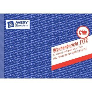 """AVERY Zweckform Formularbuch """"Wochenbericht 1772""""  A5 quer 2x40Bl."""