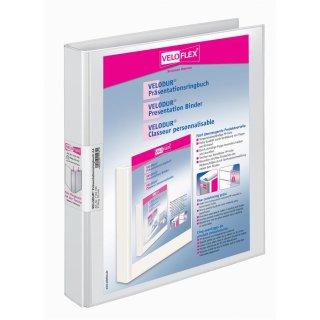 Präsentationsringbuch Velodur A4 2-Ring 25mm Ringdurchmesser weiß