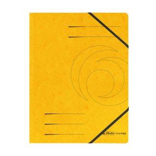 Postmappe  A4, fester Karton, intensiv gelb ohne Klappen,  mit 2 Gummizügen