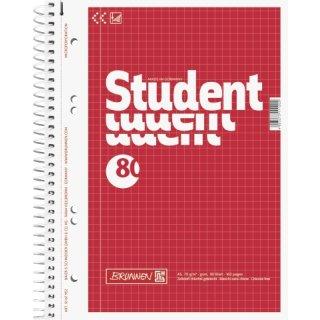 Brunnen Collegeblock Student A5 kariert, Rand links, 80 Blatt
