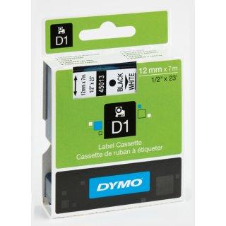 Schriftband 12mm/7m, DYMO 45010, schwarz auf transparent selbstklebend