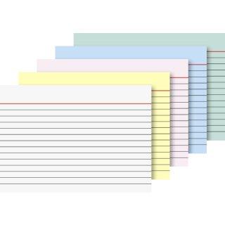 Brunnen Karteikarten A6 liniert, farbig sortiert, VE=100 Stück