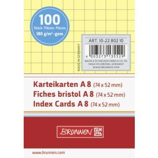 Brunnen Karteikarten A8 kariert gelb VE= 100 Stück