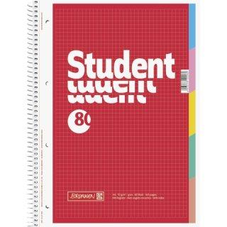 Collegeblock A4 kariert mit Register, 80 Blatt, 5 Taben