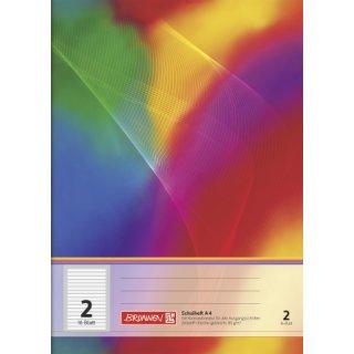 """Brunnen Schulheft A4 """"Regenbogen"""" Lin.  2 16 Blatt farbig hinterlegt"""