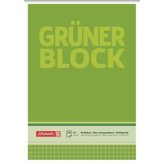 """Brunnen """"Der Grüne Block"""" A5, kariert,  60g/m² 50 Blatt"""