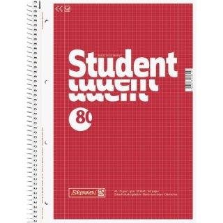 Brunnen Collegeblock Student A4 Lin.28=kariert mit beidseitigem Rand,  80 Blatt