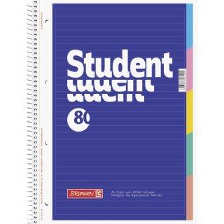Collegeblock A4 liniert mit Register, 80 Blatt, 5 Taben