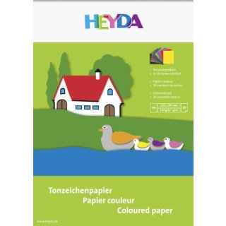 Heyda Tonpapierblock A4 130g/m² 20 Blatt in 10 Farben sortiert