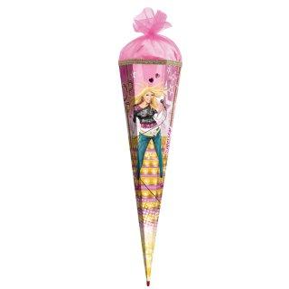 Roth-Effektschultüte Superstar mit Schmucksteinen Blüten Goldborte 85cm 6eckig, Tüllverschluss