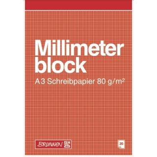 Millimeterblock A3, 20 Blatt, Netzaufdruck rotbraun, 80g/m² Schreibpapier
