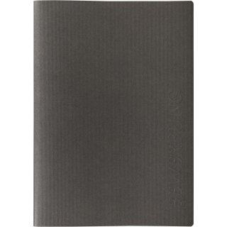 """Bewerbungsmappe 3-teilig """"LINES"""" mit feiner Linienstruktur und senkrecht geprägtem Schriftzug, schwarz"""