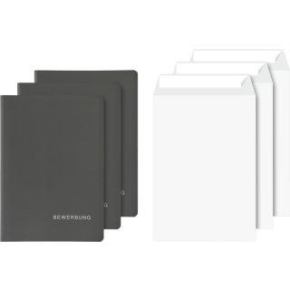 Bewerbungs-Set mit Versandtaschen,Karton mit Lederstruktur schwarz, Einstecklasche, zwei Klemmschienen, VE = 3