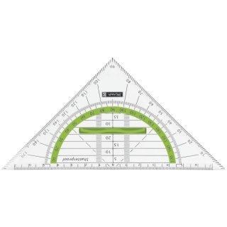 Geodreieck 16cm bruchsicher transparent-mit Griff Winkelgrade kiwi