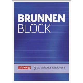 Briefblock A5 70 g/m²  liniert, ungelocht, ohne Rand, 50 Blatt