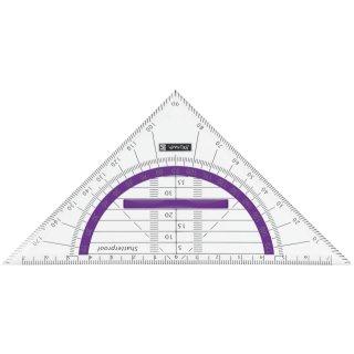 Geodreieck 16cm bruchsicher transparent-mit Griff Winkelgrade violett